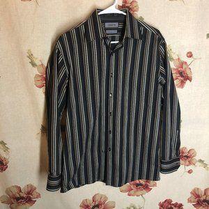 Claiborne Black Silver Stripped Casual Shirt M